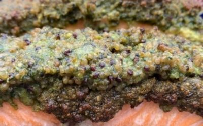 Salmon with a Quinoa, Lemon and Walnut Crust