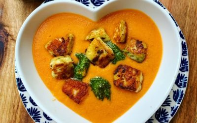 Tomato and Carrot Soup with Halloumi Croutons