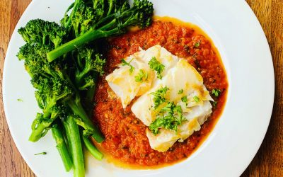 Cod served with Tomato, Ginger and Garlic